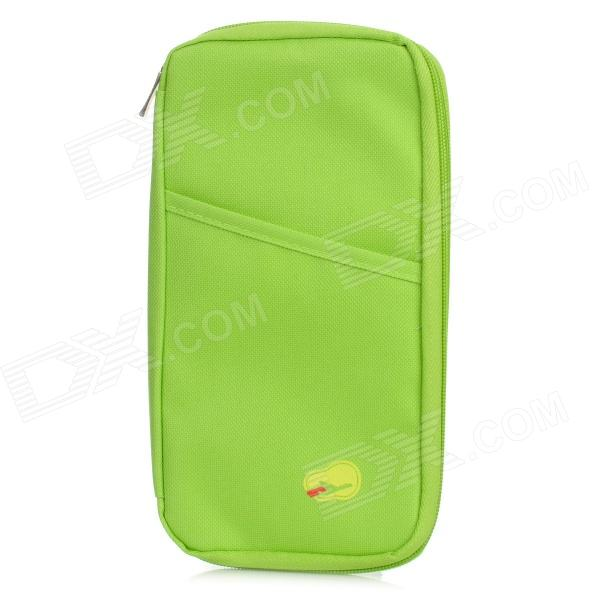 Outdoor Traveling Canvas Zipper Passport Storage Bag - Green