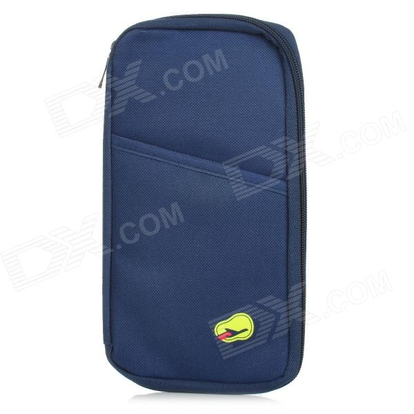 Outdoor Traveling Canvas Zipper Passport Storage Bag - Navy Blue