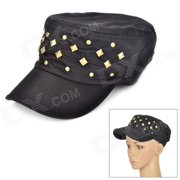 Casual Style Rivet Flat-top Cap Hat for Women - Black military hat flat cap m177