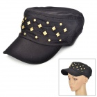 Casual Style Rivet Flat-top Cap Hat for Women - Black