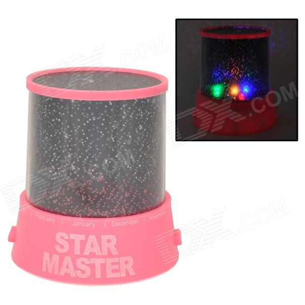 Super Bright 4-LED verwisselen Color Star Master Projector Lamp - Roze + Zwart (3 x AA)