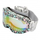 Outdoor Sports Dual Layer Lens Antifog Skiing Goggles - Blue + Pink + White + Black