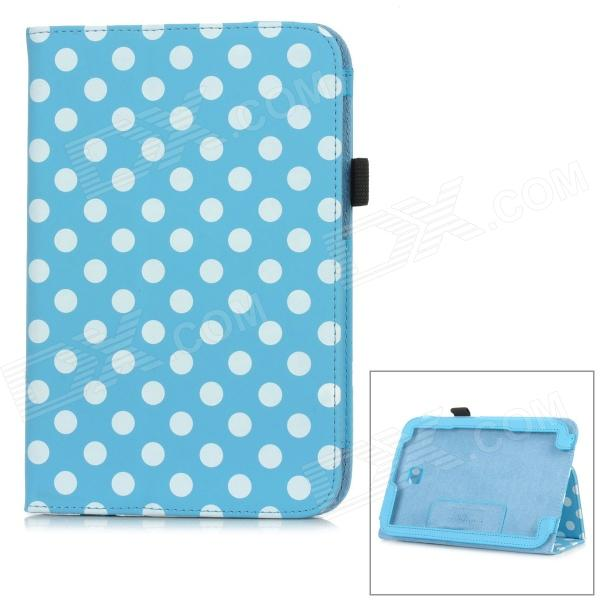 Polka Dot Style Protective PU Leather Case for Samsung N5100 Galaxy Note 8.0 - Sky Blue + White