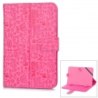 "Universal Cartoon Style Protective PU Leather Case for 7"" Tablet PCs - Deep Pink"