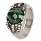 17# Men's Skull Style Aluminum Alloy Ring - Silver + Green