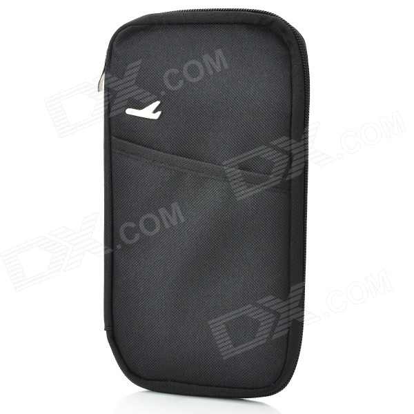 Outdoor Traveling Nylon Thicken Zipper Passport Storage Bag - Black