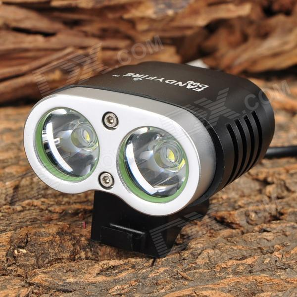 FandyFire D99 1200LM 5-Mode Neutral White Bike Light Headlight w/ 2 x Cree XM-L T6 - Silver + Black