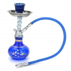 Mini Glass + Blume Ceramic + Metal Zinc Alloy Shisha Shisha Wasserpfeife - Blue + Silber