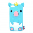 Crown Pig Style Protective Soft Silicone Case for iPhone 5 - Light Blue