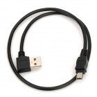 CY U2-001-0.5M Left 90-Degree USB Male to Mini USB Male Extender Cable - Black (0.5m)