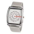 9419 Fashion Square Dial Stainless Steel Band Quartz Wrist Watch - Silver