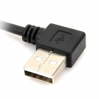 CY U2-055-BK Left 90-Degree USB Male to Micro USB Male Connection Data Cable - Black (0.5m)