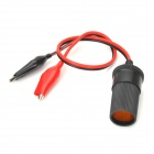 Car Battery Alligator clip to Cigarette Lighter Socket Adapter - Black + Red (DC 12~24V)
