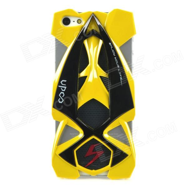 Car Style Protective Plastic Case for iPhone 5 - Black + Yellow
