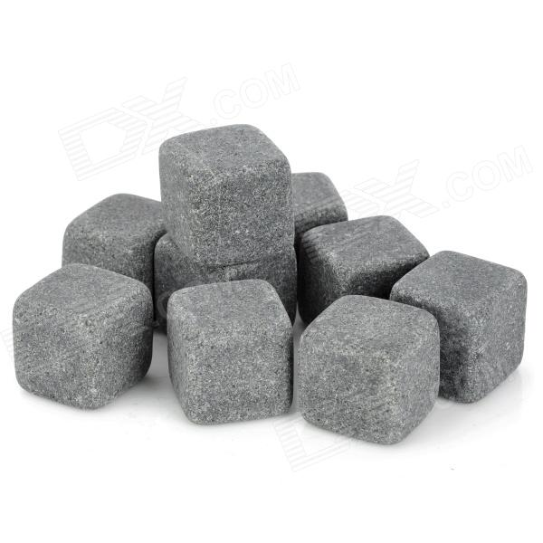FDA Certification Basalt Stone Cooling Stones for Wine / Drinks - Grey (9 PCS)