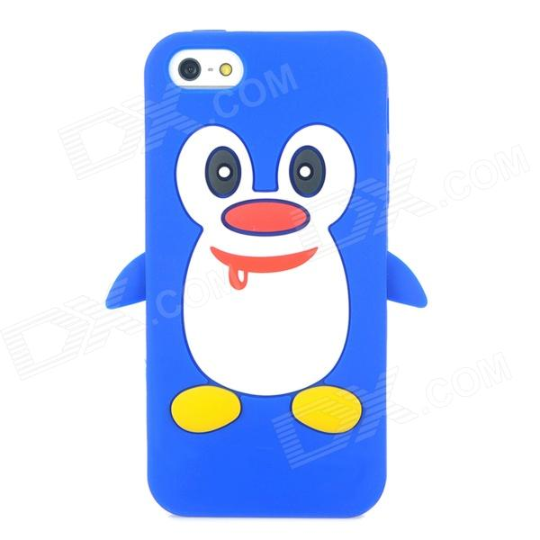 Penguin Style Protective Soft Silicone Case for Iphone 5 - Blue + White protective silicone case for nds lite translucent white