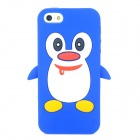 Penguin Style Protective Soft Silicone Case for Iphone 5 - Blue + White