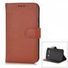 Protective PU Leather + Plastic Case for Samsung i9080 / i9082 - Brown + Black