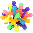 Pet Soft Plastic Tiny Cleaning Teeth Chewing Ball Toy w/ Bell for Dog - Multicolored