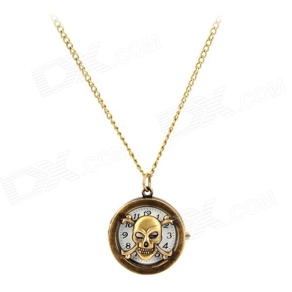 HB-213 Ghost Head Style Skeleton Stainless Steel Quartz Analog Pocket Watch - Bronze old antique bronze doctor who theme quartz pendant pocket watch with chain necklace free shipping