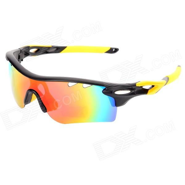 OREKA WG565 Sports Cycling UV400 Protection Polarized Goggles Sunglasses - Black + Yellow carshiro 9150 uv400 protection resin lens polarized night vision driving glasses