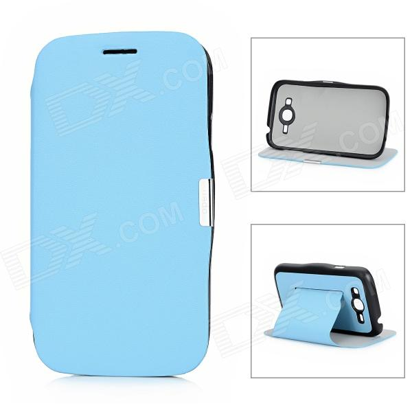 Protective PU Leather Flip Open Case for Samsung Galaxy I9082 - Blue + Black