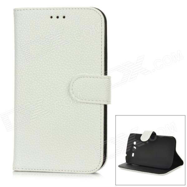 Protective PU Leather + Plastic Case w/ Card Slot for Samsung i9080 / i9082 - White + Black kalaideng freshing series protective pu leather case for samsung ss i9082 w strap red