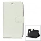 Protective PU Leather + Plastic Case w/ Card Slot for Samsung i9080 / i9082 - White + Black