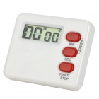 "1.25"" LCD Electronic Buzzer Timer w/ Magnetic Mount for Kitchen - White + Red (1 x AG13)"