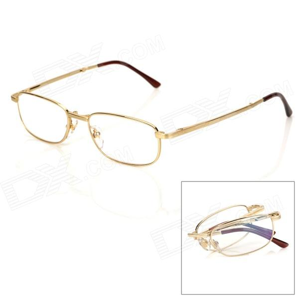 KQ Old Man's Head 6025 Folding Nickel Alloy Frame Resin Lens +200 Degree Reading Glasses - Golden anti fatigue 300 degree resin lens presbyopia reading glasses golden black