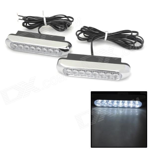 06010008 5W 96lm 8-LED White Light Car Daytime Running Light - White (DC 12V / 2 PCS) tcart 2x auto led light daytime running lights turn signals for toyota prius highlander for prado camry corolla t20 wy21w 7440
