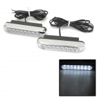 06010008 5W 96lm 8-LED White Light Car Daytime Running Light - White (DC 12V / 2 PCS)