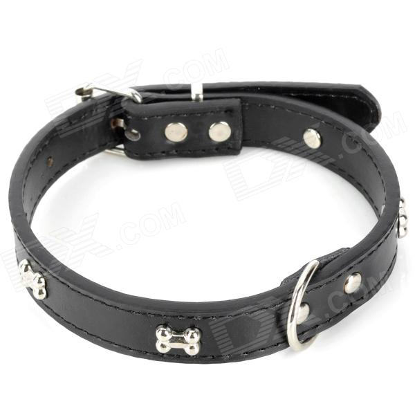 GQ-01 3D Bone Pattern Fashion Pet's Dog Collar - Black + Silver