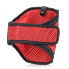Outdoor Sports Gym Mesh Fabric Arm Band Armband Case for Nokia Lumia 920 - Dark Red + Black