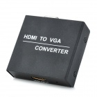 HDMI Female to VGA Female Adapter Converter w/ 3.5mm Jack - Black + White