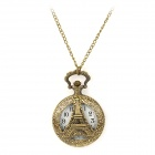 TS-133 Vintage Eiffel Tower Style Pocket Watch w/ Necklace Chain - Bronze (1 x LR626)