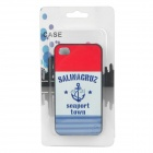 1925 Seaport Town Pattern Protective PC Back Case for Iphone 4 / 4S - Red + Blue + White