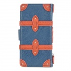 SDMDI Protective Genuine Leather  + PC Case for Iphone 5 - Blue + Brown