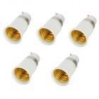 Plastic B22 to E27 Bulb Adapters Set - White + Silver (5 PCS)