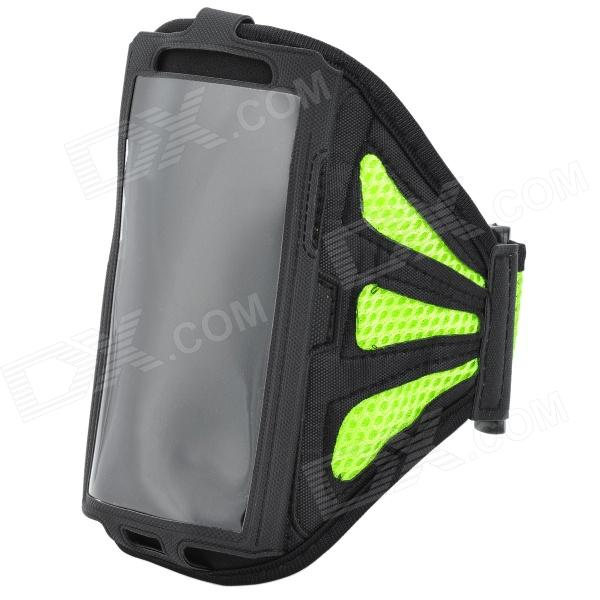 Outdoor Sports Gym Mesh Fabric Arm Band Armband Case for Samsung Galaxy S4 i9500 - Green + Black sunshine sports velcro protective arm bag for samsung galaxy s5 i9600 red black