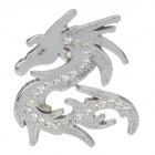 CYS003 DIY Cool 3D Dragon Shape Metal Rhinestone Car Decoration Sticker - Silver