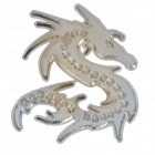 DIY Cool 3D Dragon Shape Metal Rhinestone Car Decoration Sticker - Silver