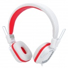 Kanen KM890 Wired Folding Stereo Headphones - White + Red (3.5mm Plug / 1.5m)