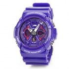 SKMEI 0966 Sport Mineral Dial Plastic Band LED Dual Electronic Digital + Analog Wrist Watch - Purple