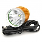 LZZ-T6 600lm 3-Mode White Bicycle Light Headlamp w/ Cree XM-L T6 - Golden + Silver (4 x 18650)