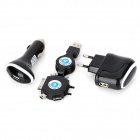 Multi-Functional EU Plug + Car Charger + 6-in-1 Retractable Cable for iPhone 4S / 4 - Black + White