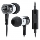 LANGSTON i-1 Stylish In-Ear Stereo Earphones w/ Microphone - Black + Silver (3.5mm Plug / 138cm)