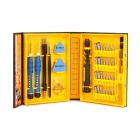 K-Tools NO.1252 38-in-1 Repair Screwdriver Tool Set - Black + Yellow + Blue
