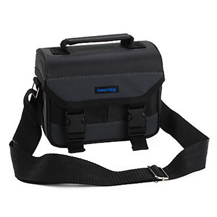 Fashionable PU Leather + Oxford Fabric Single-Shoulder Camera Bag for DSLR / SLR - Black