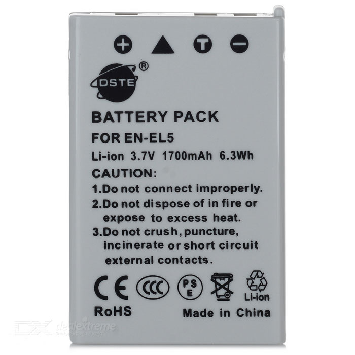 DSTE EN-EL5 Full-Decoded Replacement 1700mAh Battery for Nikon COOLPIX 3700, 4200, 5200 + More